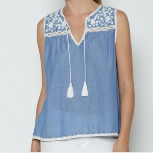 Joie chambray embroidered tassel top